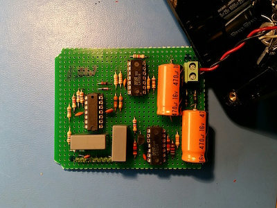 The circuit on an universal board.