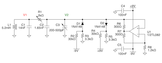 Schematic of Chua's circuit, with an inductor