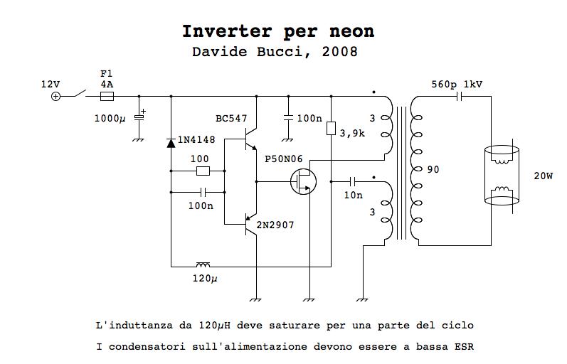 Schema Elettrico Per Lampadario : Schema elettrico inverter per neon fare di una mosca