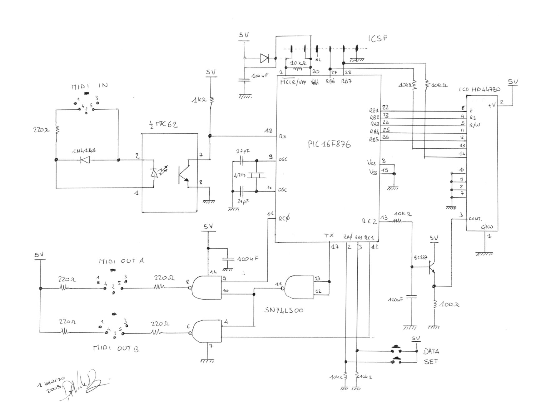 Midi Splitter With A Pic16f876 Davide Bucci Usb Wiring Diagram The Circuit Schematic