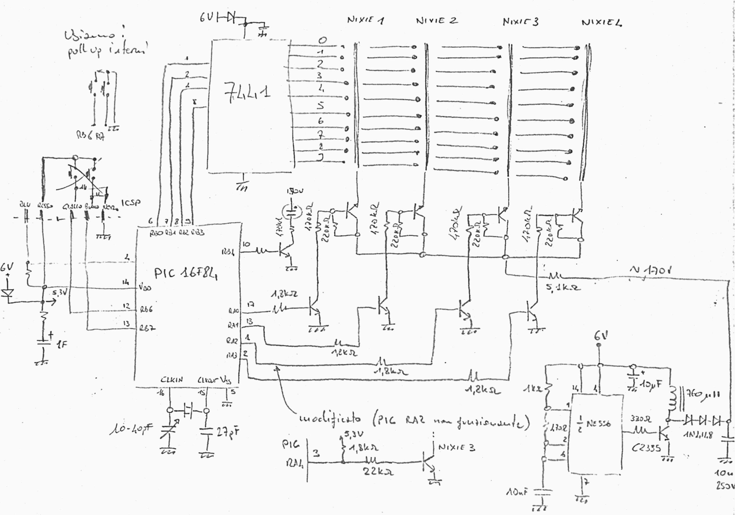uno schizzo dello schema elettrico
