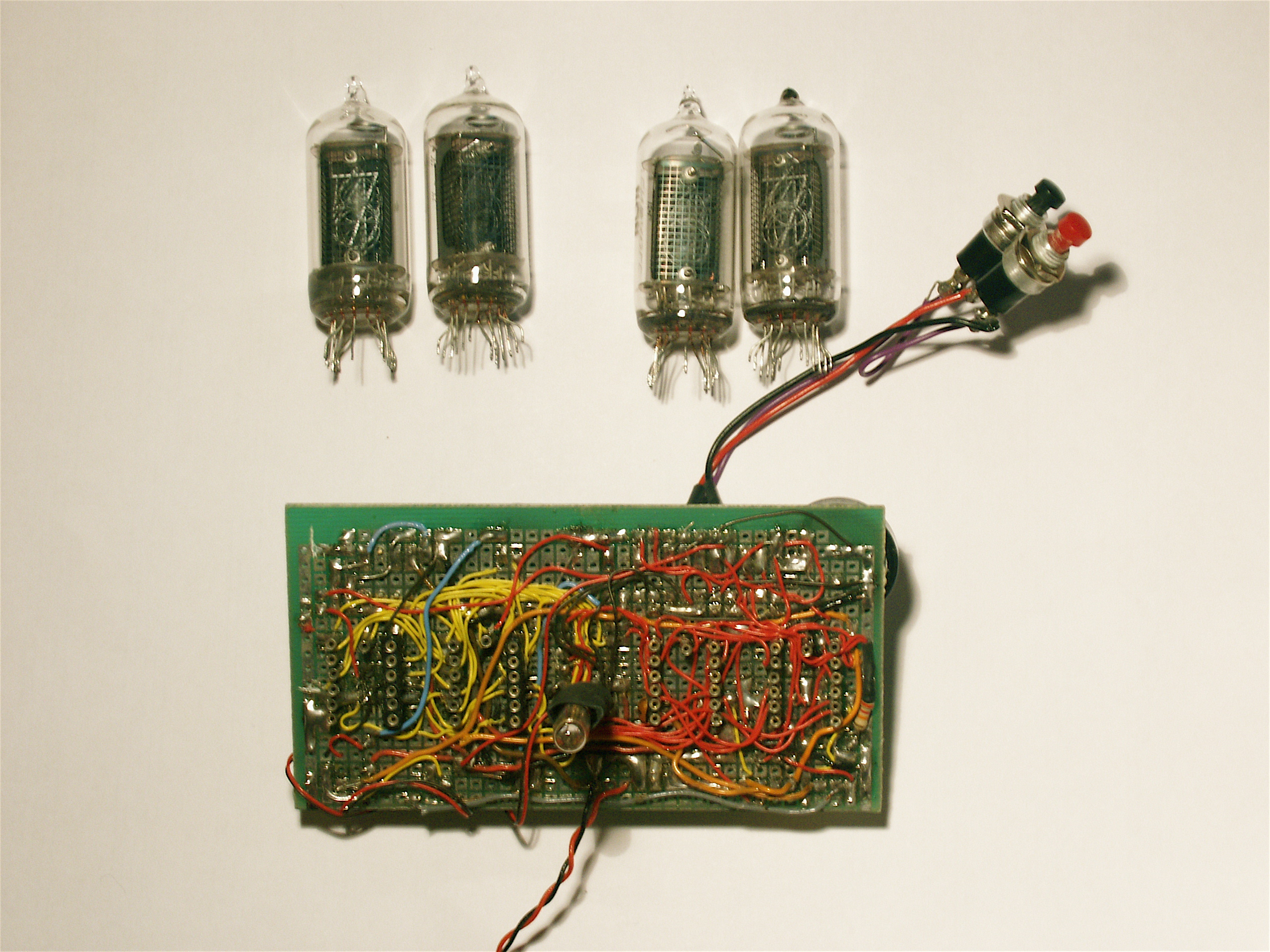 A Nixie Clock Davide Bucci Circuit The First Prototype And Nixies Seen From Below