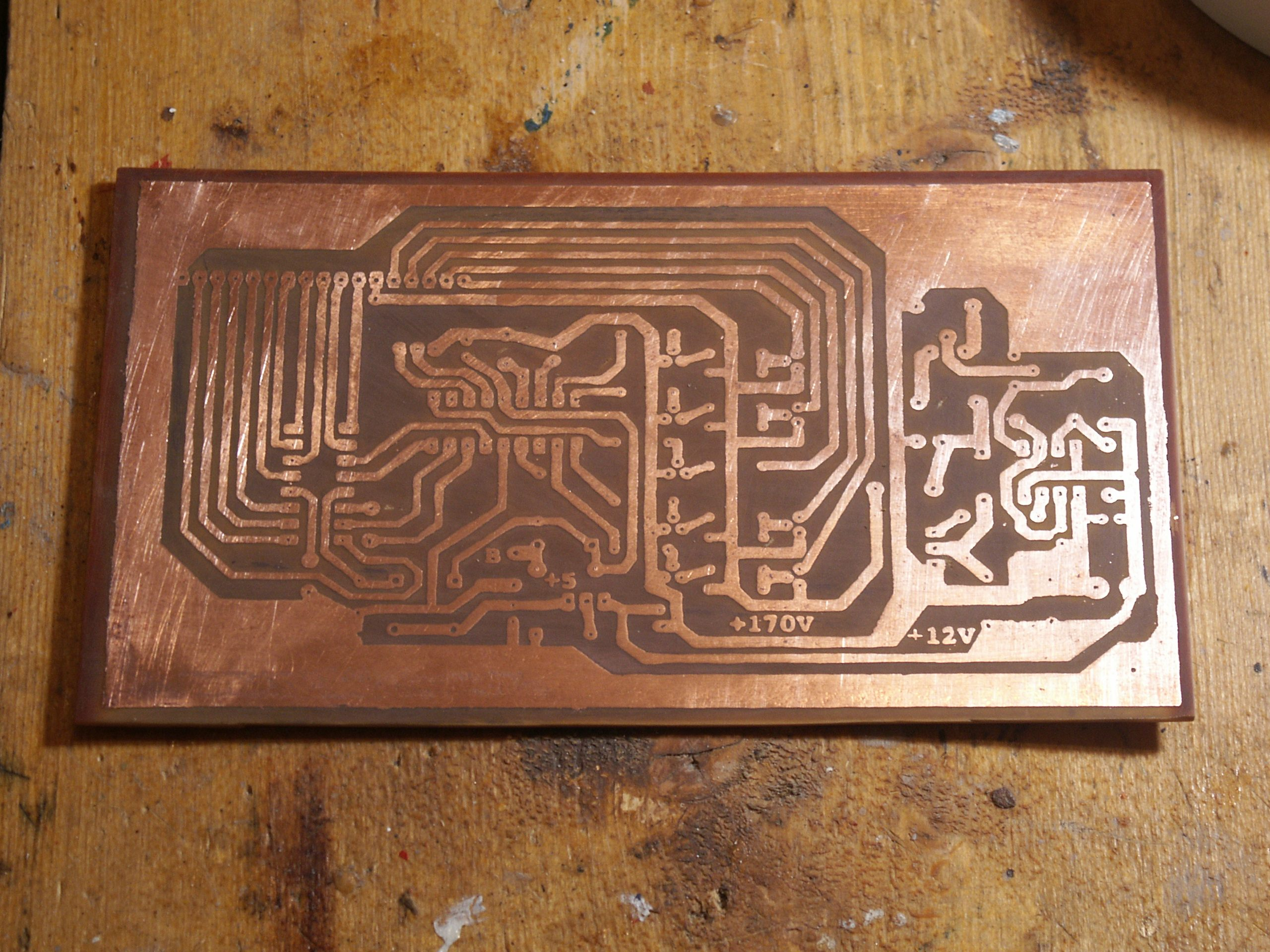 A Nixie Tube Clock Davide Bucci Etching Circuit Boards The Board After