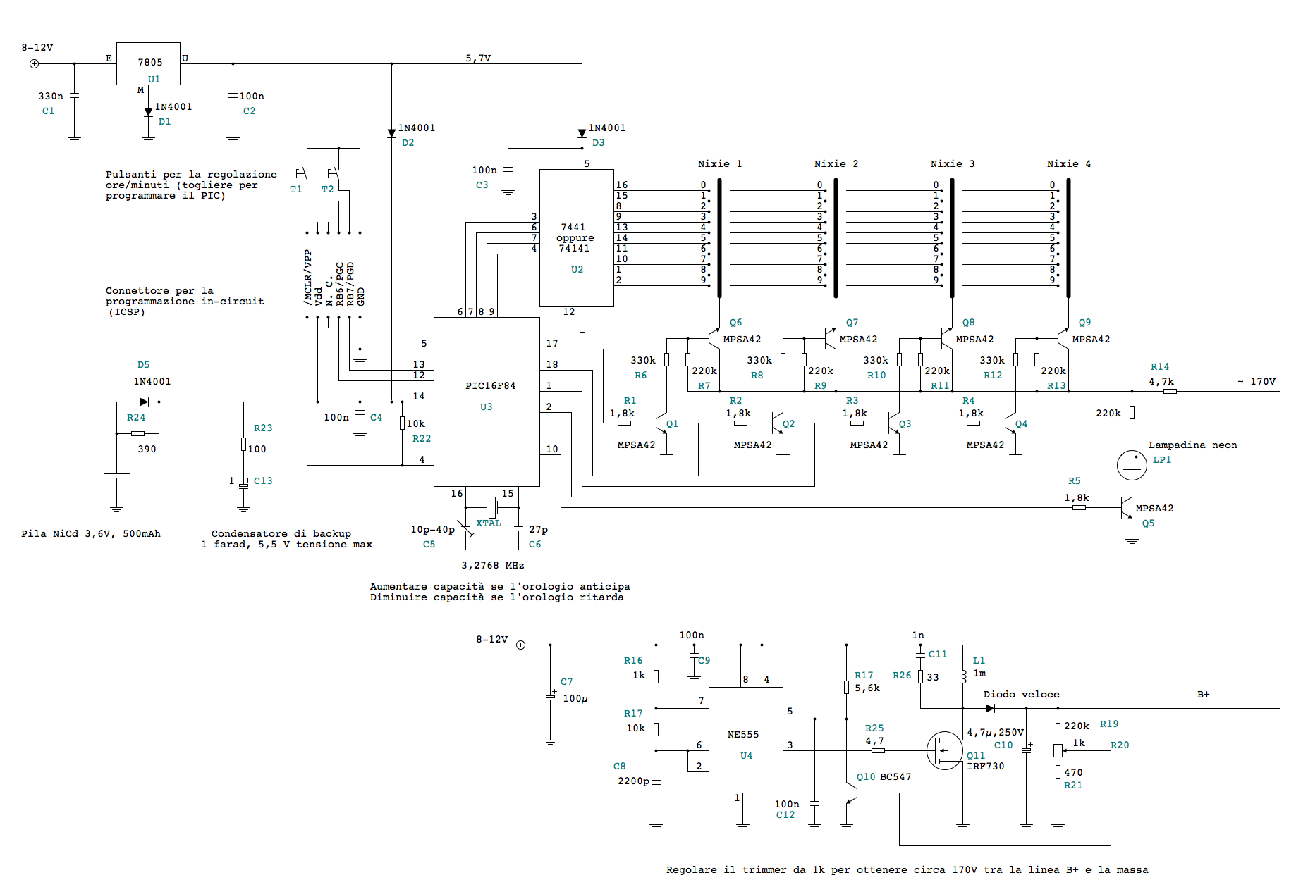The schematics of the Nixie clock.
