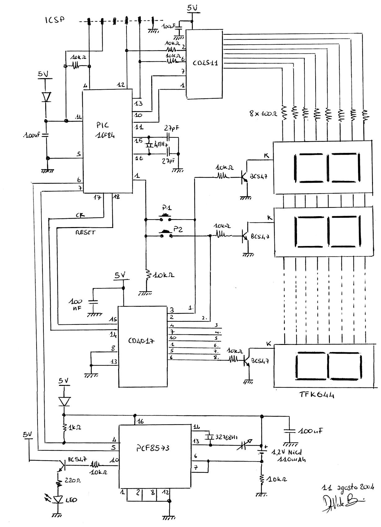 Schema elettrico orologio