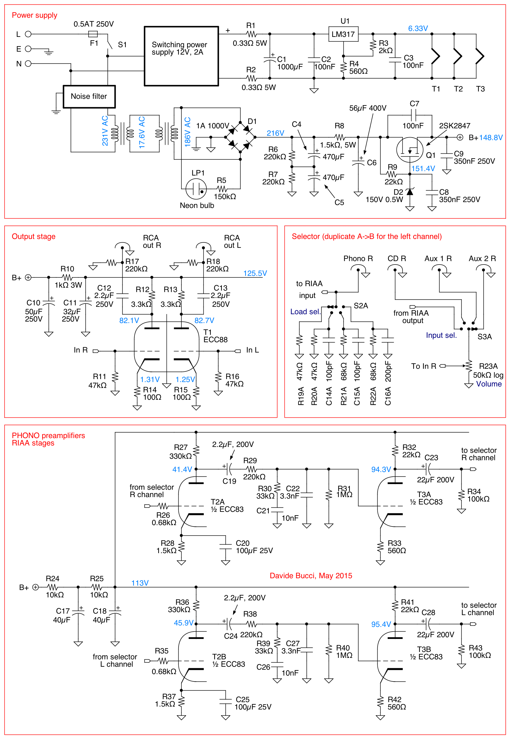 Computer Schematic Diagram Tube Preamp Vacuum A Mm Phono Preamplifier Diy Davide Bucci