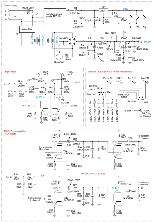Complete electronic schematic of phono/cd/aux preamp