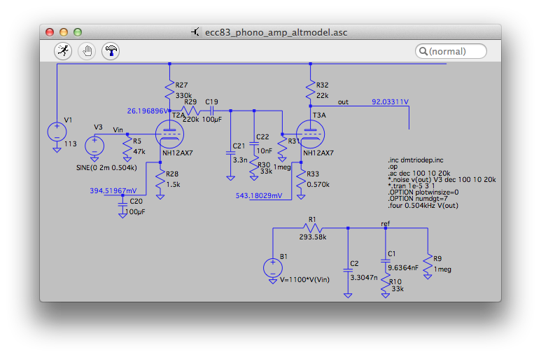 Simulating the PHONO stage with LTspice.